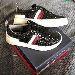 Tommy Hilfiger Girl Shoes Black Glitter Sz 11 NEW